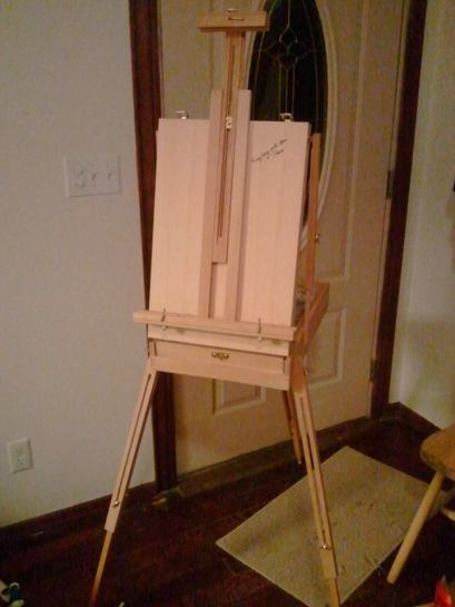 french painting easel, oil paint tools,