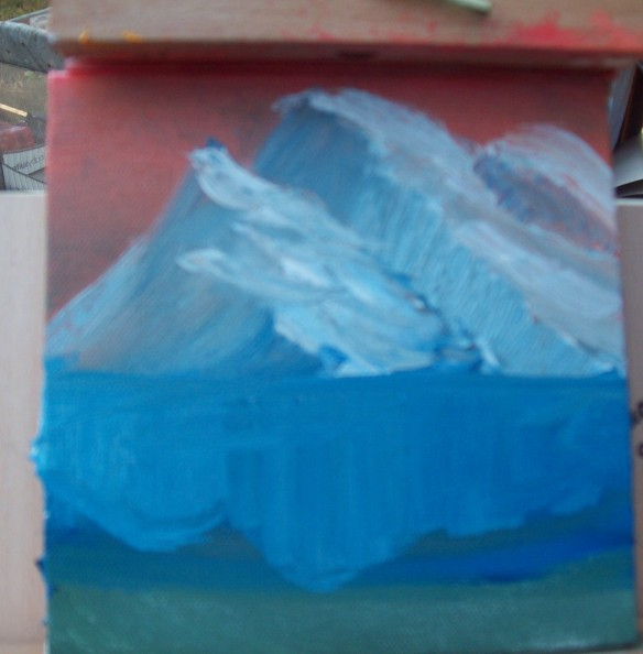 Oil painting mountains