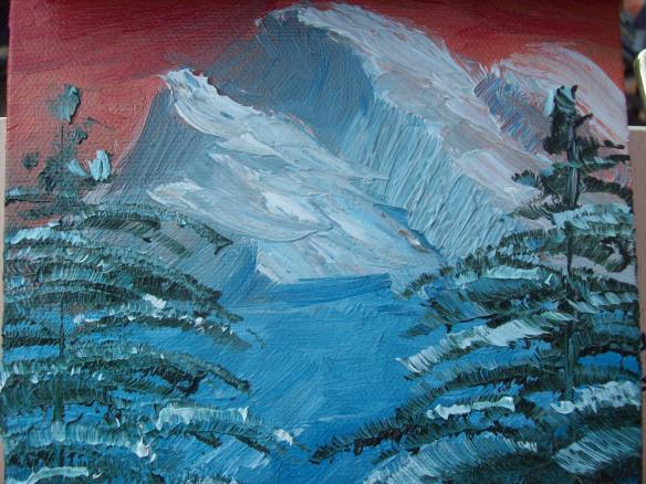 Okay... looking better, oil painting adventures with mountains and trees