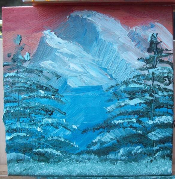 "Mountains, 6"" x 6"" canvas, wet on wet (alla prima)"